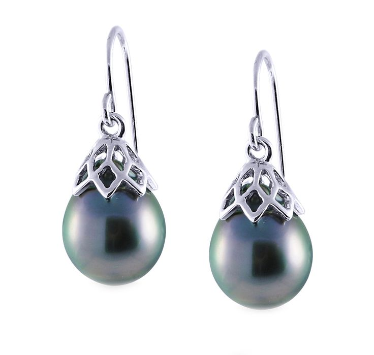 Imperial Pearls - tahitian_and_silver_earrings.jpg - brand name designer jewelry in College Station, Texas